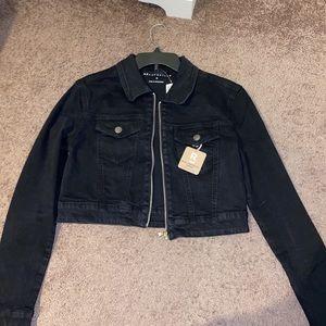 Aeropostale Black Cropped Authentic Denim Jacket